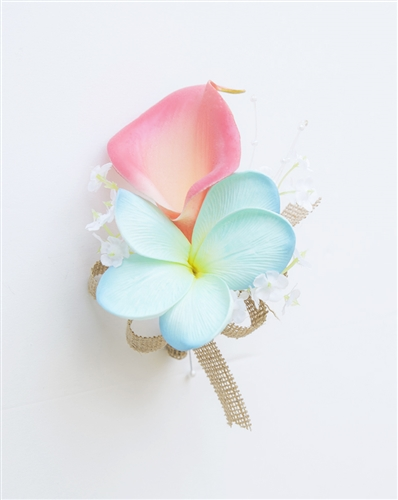 Real Touch Calla Lily and Plumeria Corsage in Any Color
