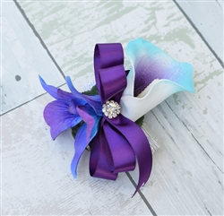 Real Touch Calla Lily and Orchid Corsage in Any Color
