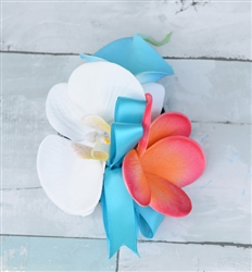 Real Touch Calla Lily, Plumeria and Orchid Corsage in Any Color