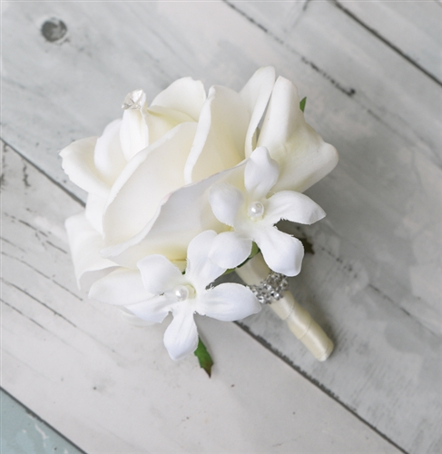 Real Touch Rose Brooch Jewel Corsage in Any Color