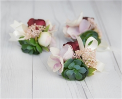Real Touch Boho Rustic Succulent Corsage