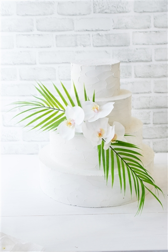 Real Touch Tropical Orchids and Palm Leaves Cake Topper Swag Decoration - Your Colors!