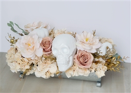Halloween Antique Rose Pink Skull Centerpiece Decoration