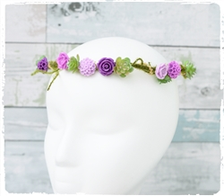 Flower Girl Head Wreath Hairpiece. Small Flowers and Moss Greens Halo.