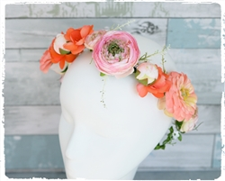 Peach Coral Blossom Flower Girl Head Wreath Hairpiece