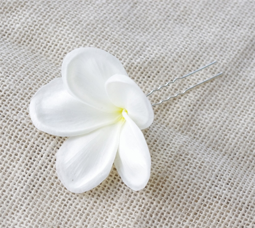 Natural Touch Plumeria Frangipani Hairpiece - Real Touch Plumeria Hair Beach Clip Decor