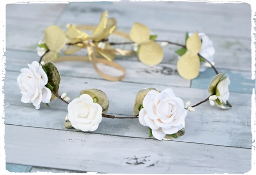 Rustic Flower Girl Gold Rose Head Wreath Hairpiece