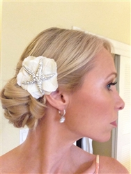 Hydrangeas and Starfish Brooch Beach Wedding Hair Clip