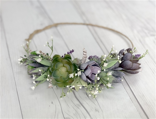 Rustic Boho Succulents Hair Wreath Halo - Perfect for Brides and Flower Girls