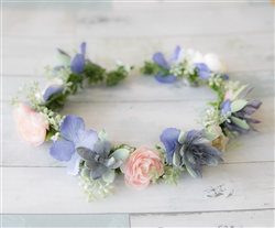 Hydrangeas and  Succulent Hair Wreath Halo - Perfect for Brides and Flower Girls