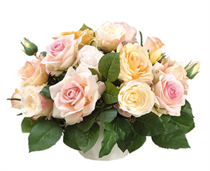 Faux Peach Roses Centerpiece - Your Colors!