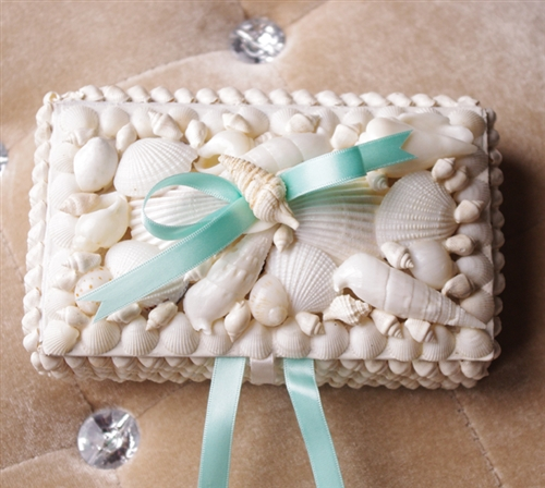 Beach Wedding Seashell Ring Pillow Box