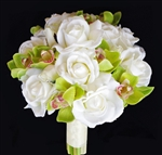 Off-White Natural Touch Roses with Real Touch Orchids