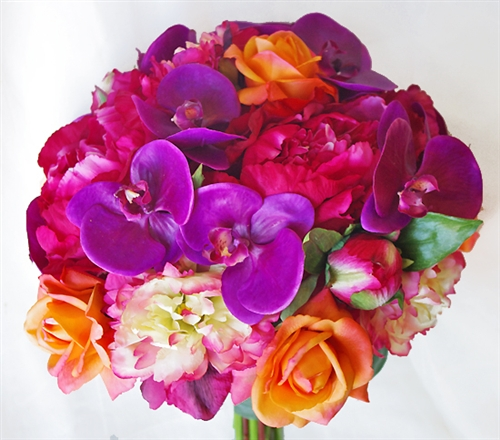 Natural Touch Fuchsia Peonies Orange Calla Lilies And
