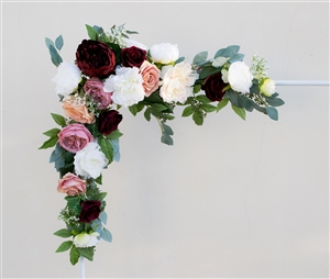 Pink Orange Corner Garden Flower Mix Real Touch Silk Corner or Sign Wedding Swag Arch