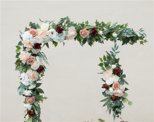Boho Chic Rustic Succulent Boho Peonies Silk Wedding Garland for Arch, Gazebo or Table Decor. Dusty Mauve Antique Rose and Burgundy.