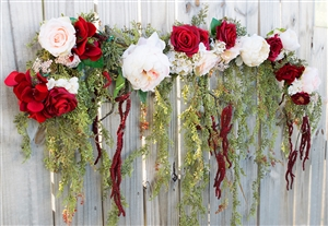 Boho Chic Rustic Cascading Greens Peonies Silk Wedding Garland for Arch, Gazebo or Table Decor