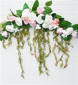 Roses and Peonies Boho Garden Cascading Flower Mix Real Touch Silk Corner or Sign Wedding Swag Arch