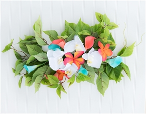 Tropical Plumerias, Callas and Orchids Beach Real Touch Silk Wedding Swag Arch
