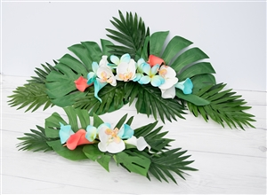 Tropical Plumeria, Callas, Orchids and Lilies Beach Real Touch Silk Wedding Swag Arch