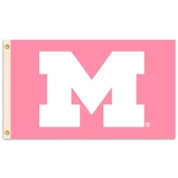 Michigan Wolverines 3 Ft. X 5 Ft. Flag W/Grommets - Pink Design