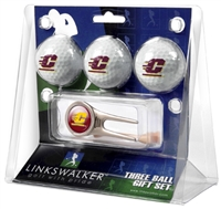 Central Michigan Chippewas 3 Ball Gift Pack w/ Cap Tool
