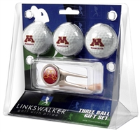 Minnesota Golden Gophers 3 Ball Gift Pack w/ Cap Tool