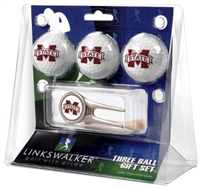 Mississippi State Bulldogs 3 Ball Gift Pack w/ Cap Tool