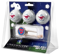 Southern Methodist Mustangs 3 Ball Gift Pack w/ Cap Tool