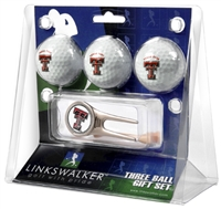 Texas Tech Red Raiders 3 Ball Gift Pack w/ Cap Tool