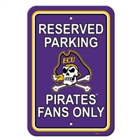 "Fremont Die East Carolina Pirates 12"" X 18"" Plastic Parking Sign"