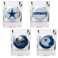 Dallas Cowboys 4pc Square Shot Glass Set (Individual Logos)