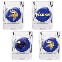 Minnesota Vikings 4pc Square Shot Glass Set (Individual Logos)