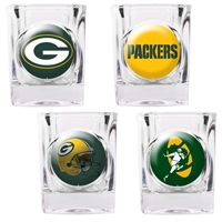 Green Bay Packers 4pc Square Shot Glass Set (Individual Logos)