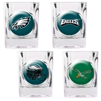 Philadelphia Eagles 4pc Square Shot Glass Set (Individual Logos)