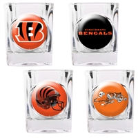 Cincinnati Bengals 4pc Square Shot Glass Set (Individual Logos)