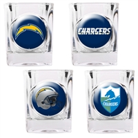 San Diego Chargers 4pc Square Shot Glass Set (Individual Logos)