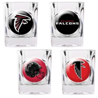 Atlanta Falcons 4pc Square Shot Glass Set (Individual Logos)