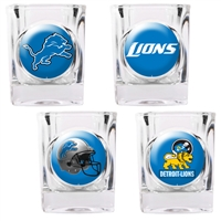 Detroit Lions 4pc Square Shot Glass Set (Individual Logos)