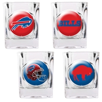 Buffalo Bills 4pc Square Shot Glass Set (Individual Logos)