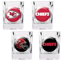 Kansas City Chiefs 4pc Square Shot Glass Set (Individual Logos)