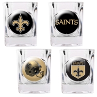 New Orleans Saints 4pc Square Shot Glass Set (Individual Logos)