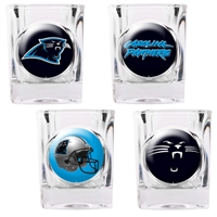 Carolina Panthers 4pc Square Shot Glass Set (Individual Logos)