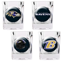 Baltimore Ravens 4pc Square Shot Glass Set (Individual Logos)