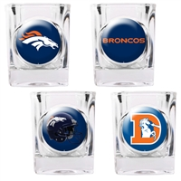 Denver Broncos 4pc Square Shot Glass Set (Individual Logos)