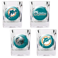 Miami Dolphins 4pc Square Shot Glass Set (Individual Logos)