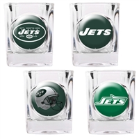 New York Jets 4pc Square Shot Glass Set (Individual Logos)