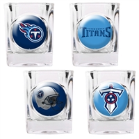 Tennessee Titans 4pc Square Shot Glass Set (Individual Logos)