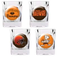 Cleveland Browns 4pc Square Shot Glass Set (Individual Logos)