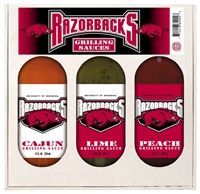 Arkansas Razorbacks Grilling Gift Set 3-12 oz (Cajun, Lime and Peach)